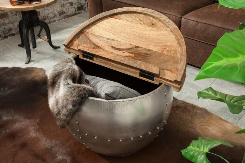 stolíky Reaction, industrialny nábytok, nábytok z dreva a kovu