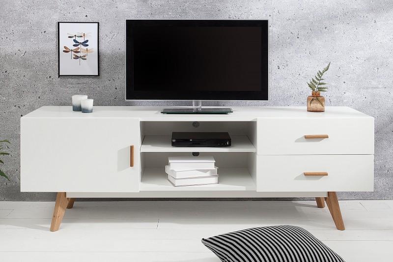1becee822 Dizajnový biely stolík pod televízor SCENER II. Nábytok Reaction.