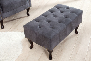 Taburet CHESTERFIELD STOOL GREY